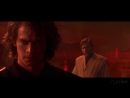 Anakin and obiwan fight, but it's over pizza