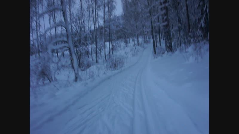 Лыжная трасса в Иматре спуск первый из многих