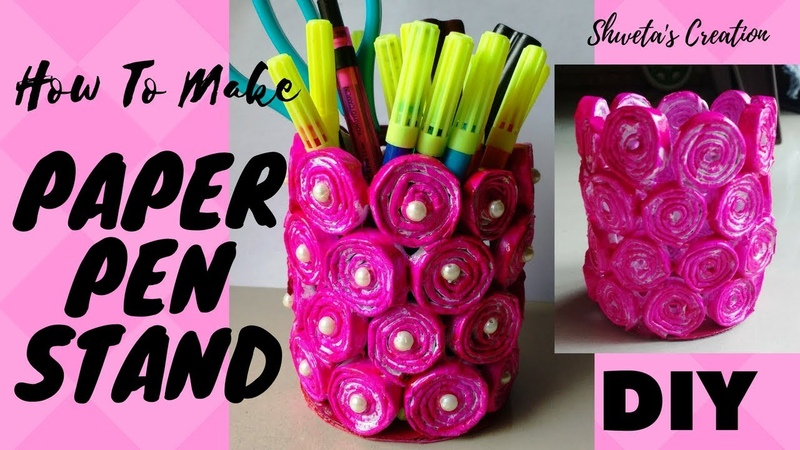 How to make Pen Stand From Used Paper ? | Paper Pen Stand | DIY |Best out of Waste