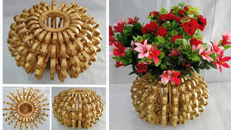 Flower Vase Out Of Waste Newspaper DIY Best Out Of Waste Idea