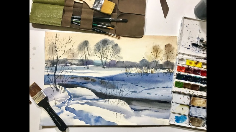 Мастер-класс по акварели «Зима в деревне»