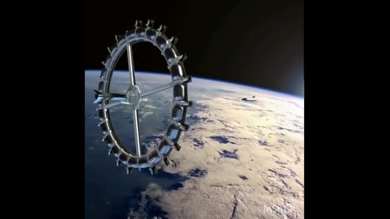Визуализация стыковки корабля 🇺🇸 SpaceX 🚀✈ StarShip с предполагаемой Вращающейся космической станцией Von Braun Foundation