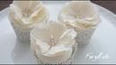 Hochzeits Cupcakes Blütenpaste Rose mit Zuckerperlen Brosche Satin Ice und FunCakes