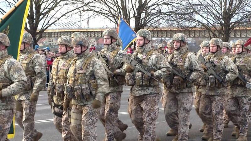Военный парад в Риге. 100-летие независимости Латвии. Пешие.