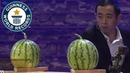 Most playing cards thrown into watermelons in one minute Guinness World Records