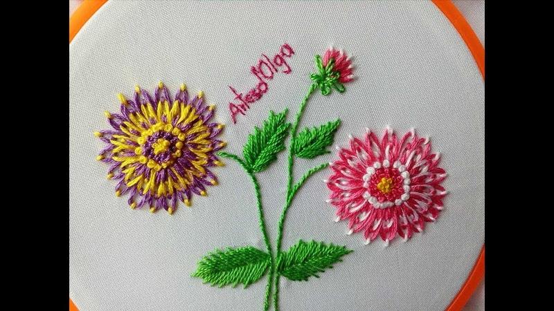 Dahlia Flower Embroidery | Double Color Lazy Daisy Stitch | Dalias bordadas a mano | ArtesdOlga