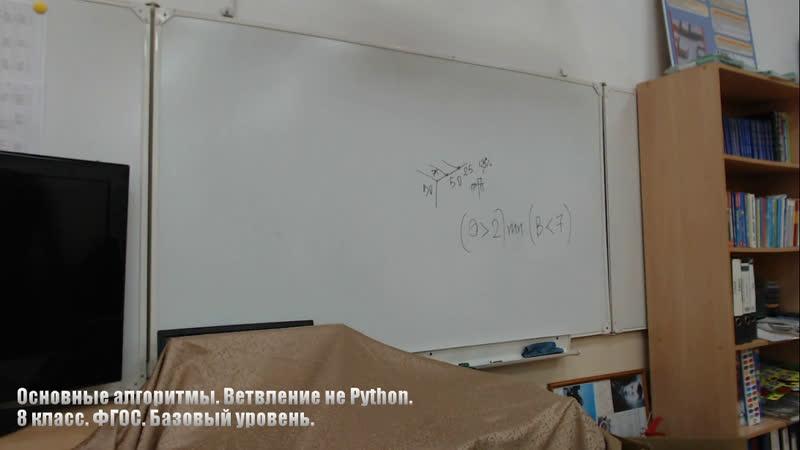 Основные алгоритмы. Ветвление не Python. 8 класс. ФГОС. Базовый уровень.