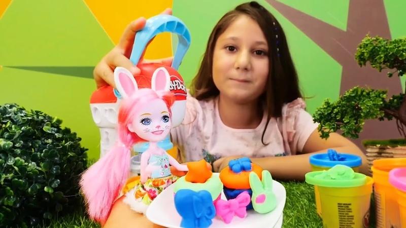 Enchantimals oyuncakları ile Play-Doh cupcake yapıyoruz!