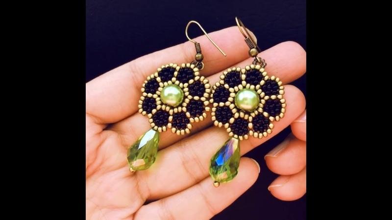 Beaded Flower Earrings.DIY Earrings. How to make earrings