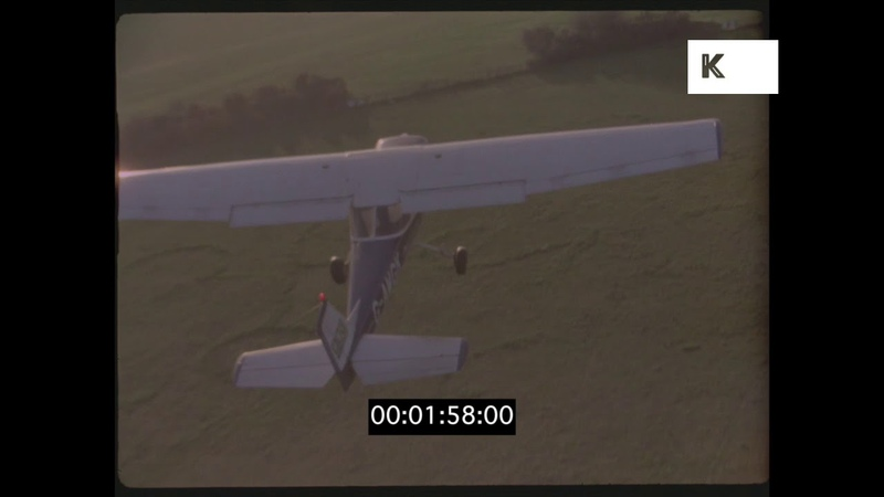Cessna Flying Low Over Airfield, UK, HD
