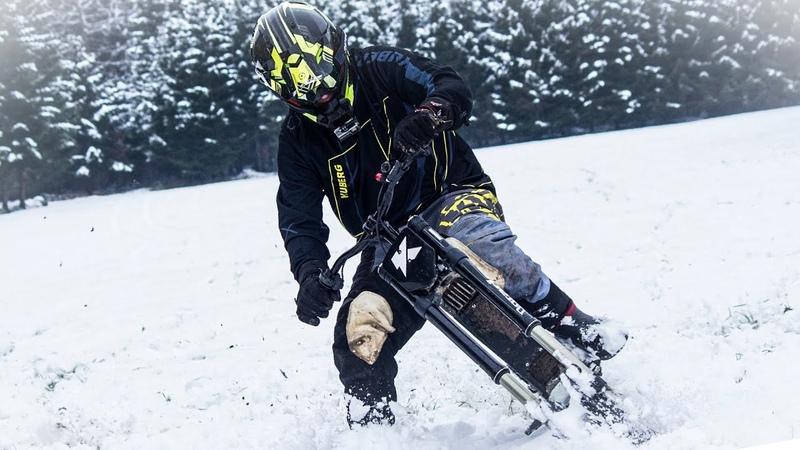 Riding A Motorcycle on Skis! - Kuberg Freerider, electric bike!