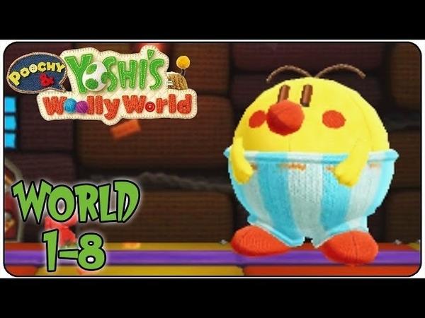 Yoshi wooly world 1 8 Восьмой уровень прекрасной игры под названием Burt the Bashful's Castle