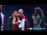 Jennifer Beals and Governor Pat Quinn receive blessed scarf from Dalai Lama