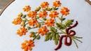 Hand Embroidery satin stitch flower design by nakshi katha