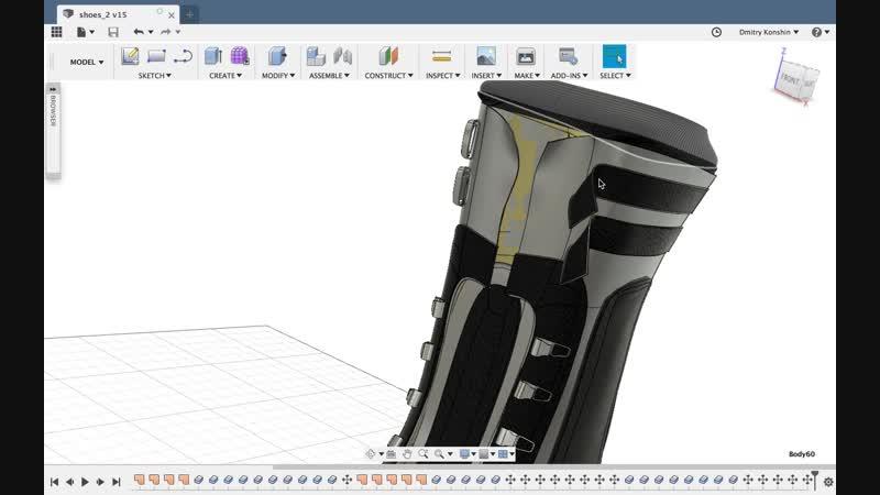 3d модель сапога (Autodesk Fusion 360)