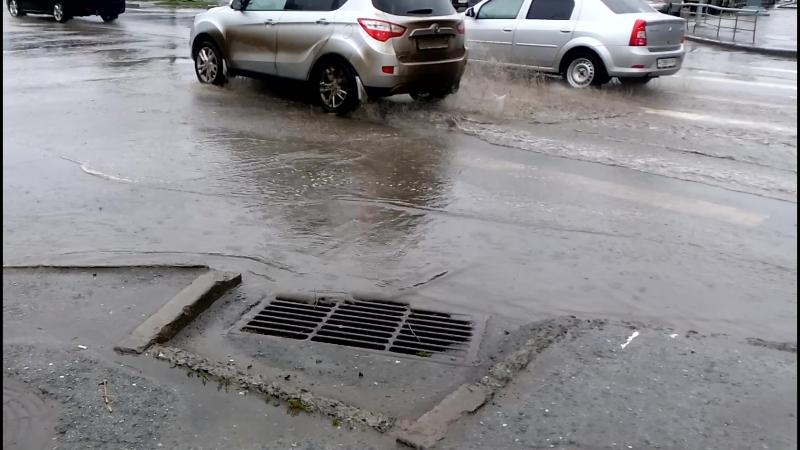 Потоп на улице Герцена в Омске