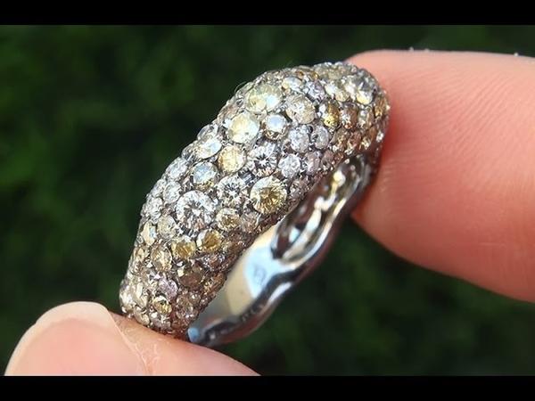 Estate Natural Multi Fancy Color Diamond Cocktail 18k White Black Gold Ring - C402