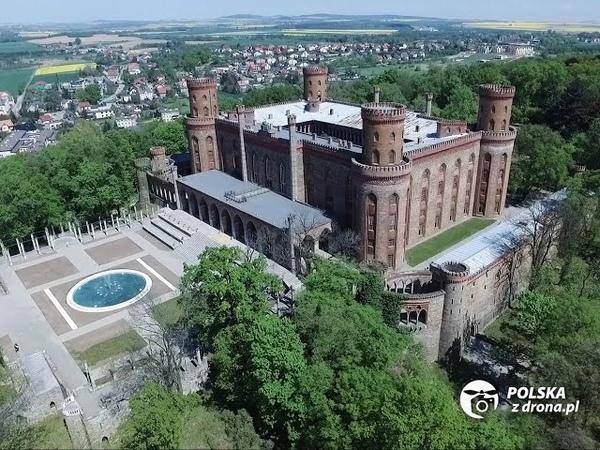Pałac Marianny Orańskiej w Kamieńcu Ząbkowickim z lotu ptaka