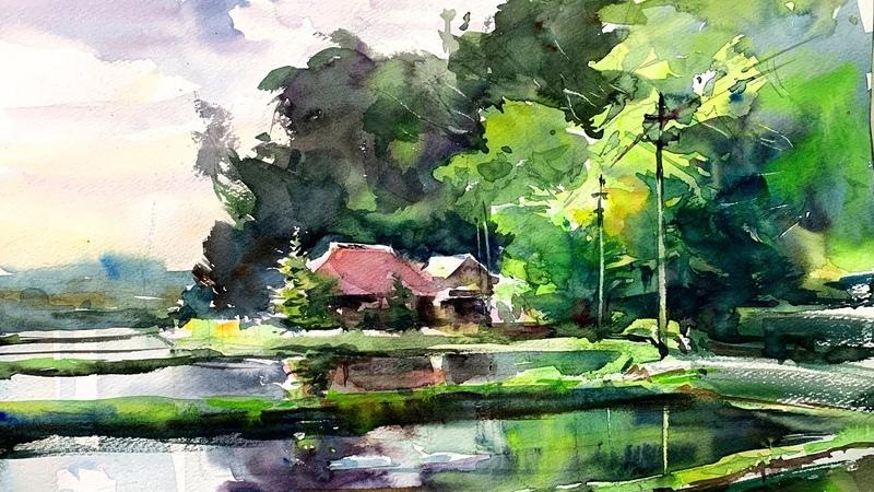 Countryside landscape of Japan - Healing Watercolor Art - Calming