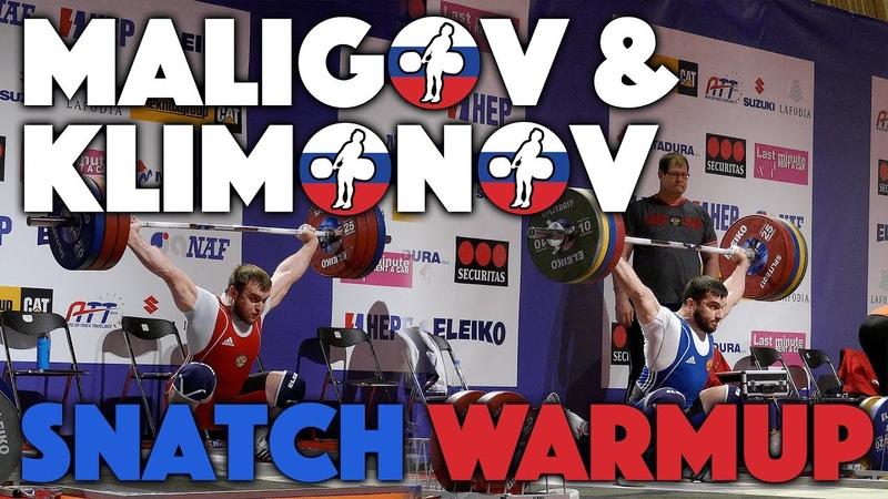 Adam Maligov Egor Klimonov Snatch Warmup @ 2017 Europeans 4k