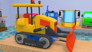 Construction Vehicles Excavator Formation 3D Animation Video For Children