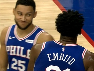 "NBA on ESPN on Instagram: ""The look Ben Simmons gave Embiid after he missed that windmill dunk 😂"""