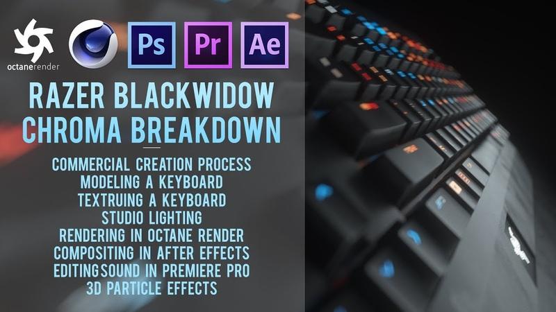 Cinema 4D Tutorial - Razer Blackwidow Chroma in Octane Render, Premiere Pro After Effects