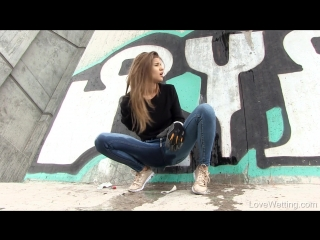 Amazing piss in jeans with lock gloves (a|w)