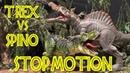 T-REX vs SPINOSAURUS - Stop Motion - Jurassic Repaints JP