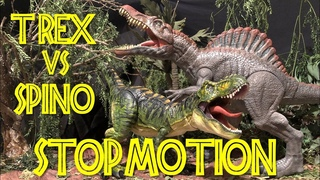 T-REX vs SPINOSAURUS - Stop Motion - Jurassic Repaints JP///
