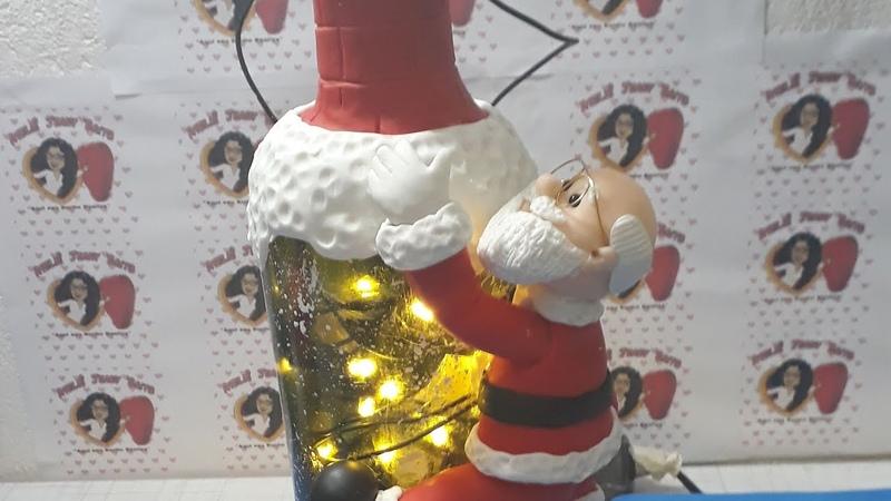 Papai Noel na garrafa iluminada /especialdenatal 2