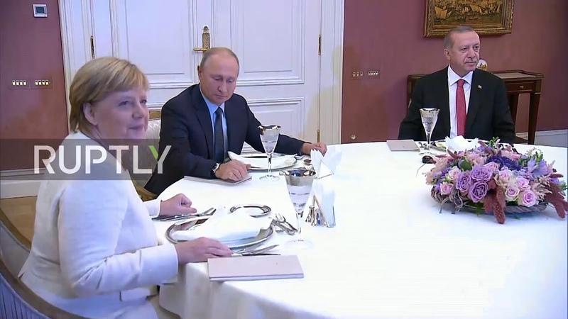 Turkey Erdogan hosts dinner for Putin, Merkel, and Macron after Syria summit