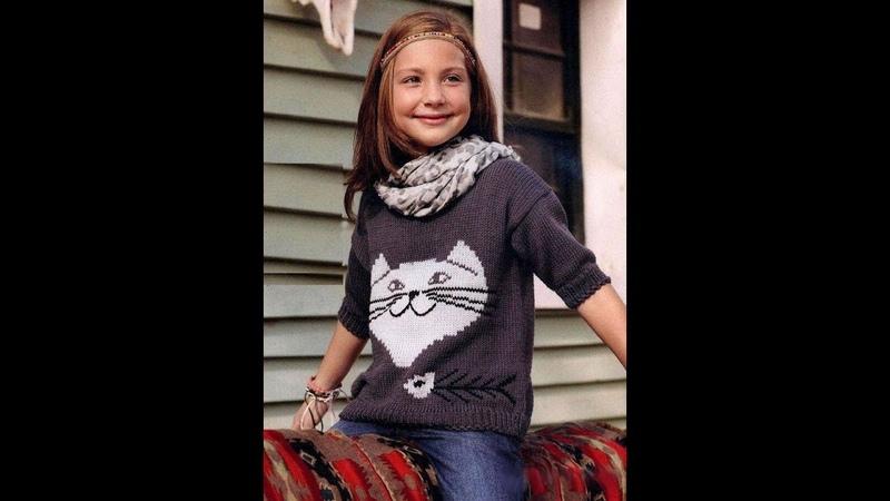 Детский пуловер с кошечкой.Часть №1