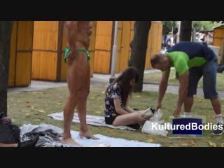 Green trunks hunk bodybuilder Sopot 2015