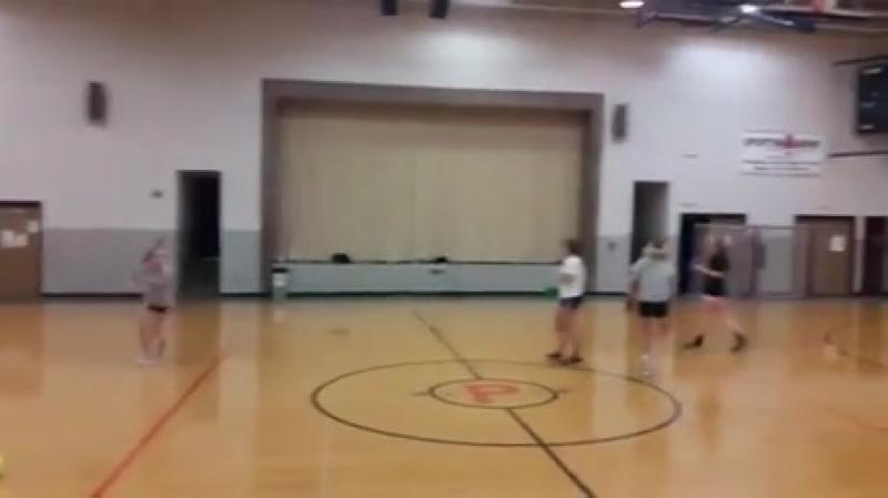 Dodgeball with a softball player
