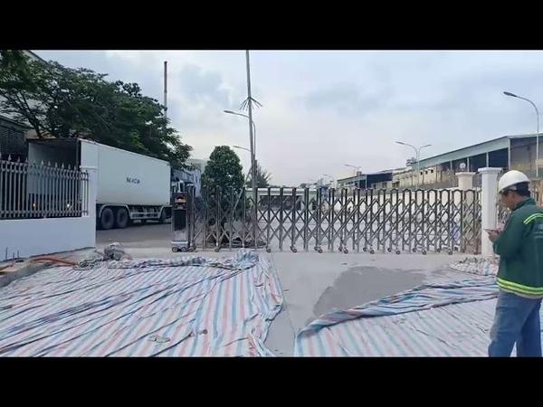 Cổng xếp tự động, cổng xếp inox trúng thầu tại GROBEST LANDFOUN -Đồng Nai