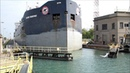 Cargo ship time lapse passing through Welland Canal HD