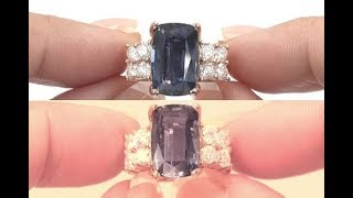 GIA Unheated Blue to Violet Color Change Sapphire Diamond Ring 14k Rose Gold 7 22 TCW C458