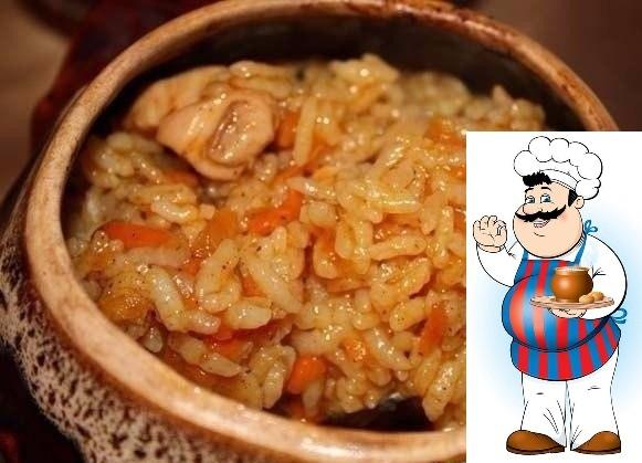 Рис с курицей горшочках