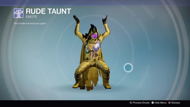 Destiny_20180929 YELLOW WARLOCK , HLEM vers42 . DANCE RUDE TAUNT .