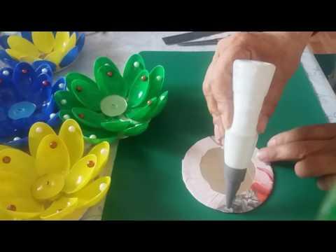 Подсвечники из пластиковых ложек своими руками