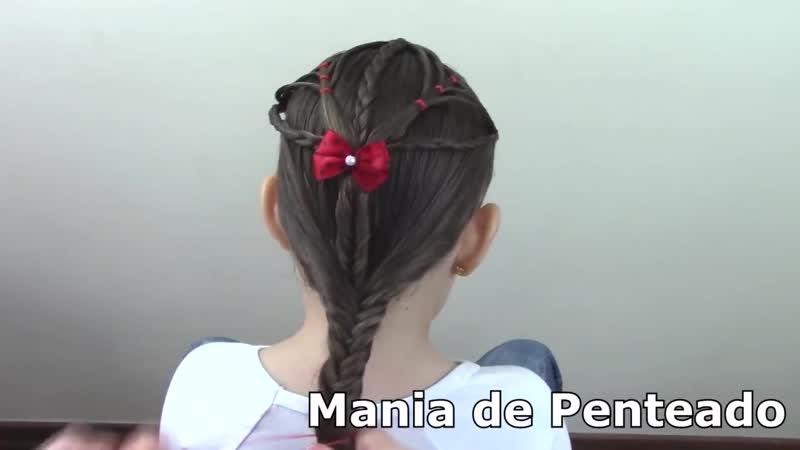 Penteado Infantil de ligas em flor com cabelo meio preso, amarração ou trança escama de peixe