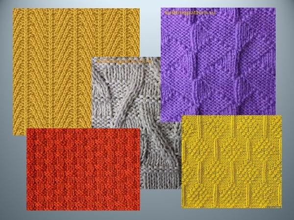 Рельефные узоры спицами со схемами 1. Вязание Knitted Diy