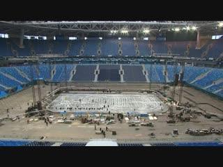 Как стадион на Крестовском готовят к хоккейным матчам