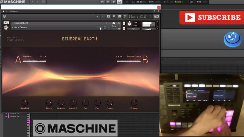 NI Kontakt 6 Ethereal Earth library first contact demo with Maschine MK3 (2018)