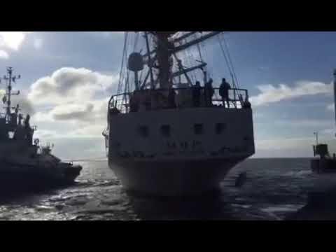 12 05 19 парусник МИР из Санкт Петербурга исполняет в порту Гамбурга