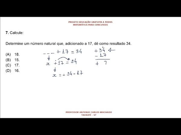 Cálculo Valor Desconhecido Questão 7 Matemática