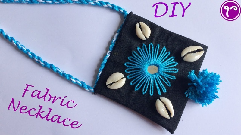 How to make Fabric Jewellery with Cowrie Shell | Fabric Boho Necklace | Jewellery Making
