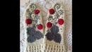 Варежки - Клубнички крючком тунисским вязанием,аппликация, вышивка