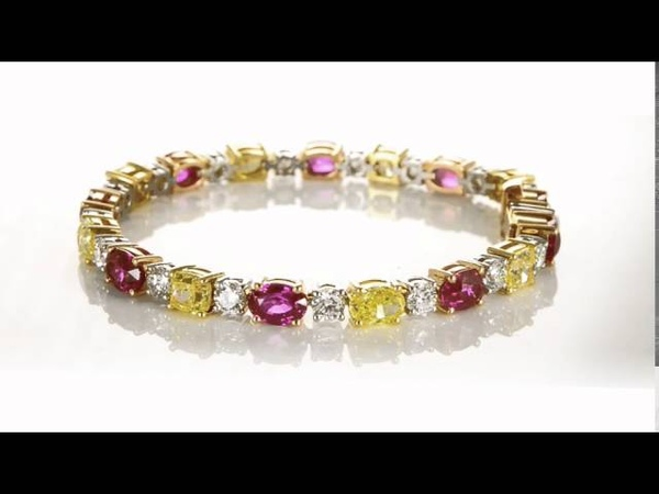 A fabulous 36.95 carat Ruby and Canary diamond bracelet